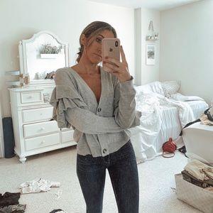 Sweaters - Gray ruffle cardigan